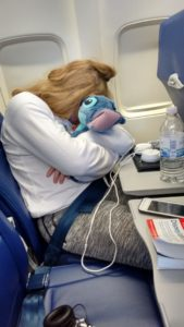Ceilidh sleeping on airplane