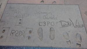 Star Wars footprints at the Chinese Theater in Hollywood